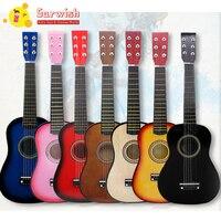 Children Wooden 6 Strings Guitar Musical Instrument Toys For Beginner Purple