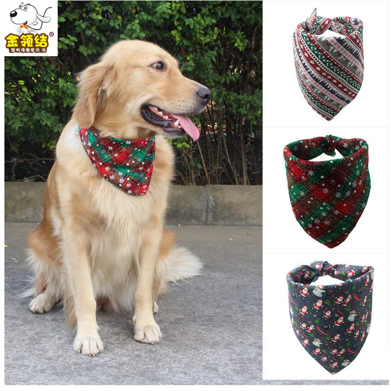 New Style Christmas Triangular Binder Double Layer Snowflake Printed Pet's Saliva Towel Dog Scarf Dog Supplies