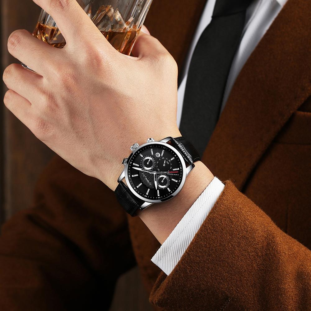 CRRJU, nuevos relojes de moda para hombre, relojes de pulsera analógicos de cuarzo, cronógrafo resistente al agua de 30M, reloj deportivo con fecha Relojes De Correa De Cuero para hombre 10