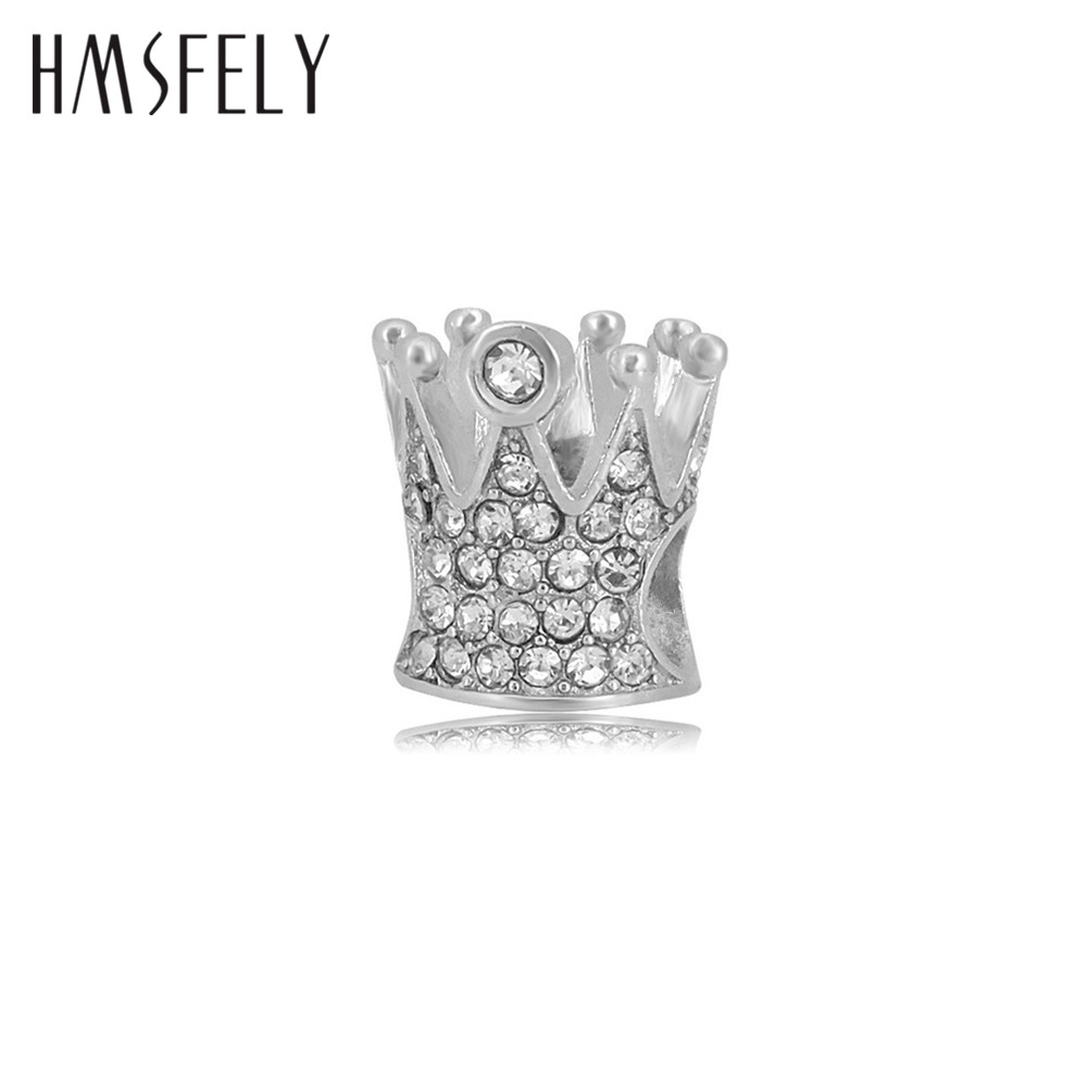 HMSFELY Titanium Steel Stainless Crystal Crown Charm Beads For DIY Women Charms Bracelet Jewelry making Accessories
