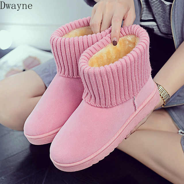 Quality Woman Boots Round Toe Yarn Elastic Ankle Boots Thick Heel Flat Heels Shoes Woman Female Socks Boots 2019 Winter