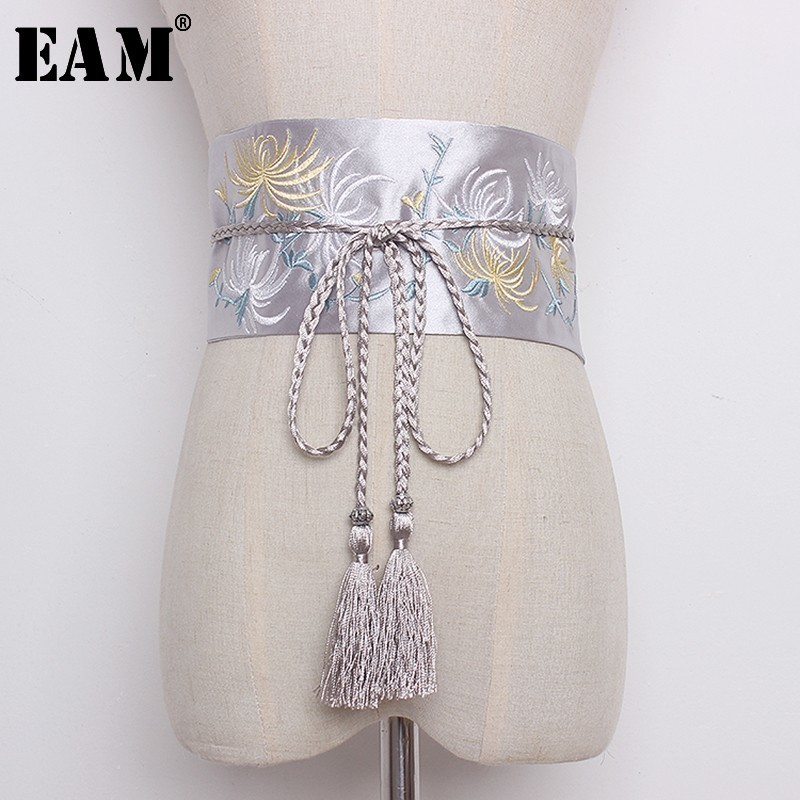 [EAM] 2020 New Autumn Winter 6 Color Tassel  Embroidery Flowers Girdle Vintage Wide Belt Women Fashion Tide Lace Up Wild LA632