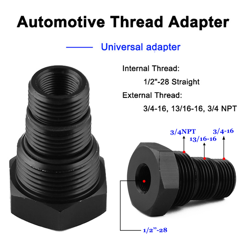 Straight Thread 1//2-28 to 3//4 16,13//16-16,3//4NPT Car Threaded Oil Filter Adapter