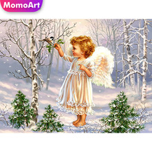 MomoArt 5D Diamond Painting Child Full Drill Square Diamond Embroidery Portrait Cross Stitch Home Decoration Gift momoart 5d full drill square diamond painting flowers diy diamond embroidery daisy cross stitch home decoration gift