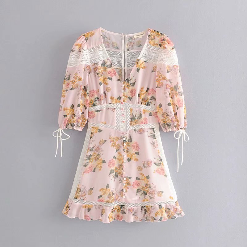 Summer New Style WOMEN'S Dress Western Style V-neck Half-sleeve Shirt Lace-up Buckle Decoration Flower Printed Gauze Splicing Dr