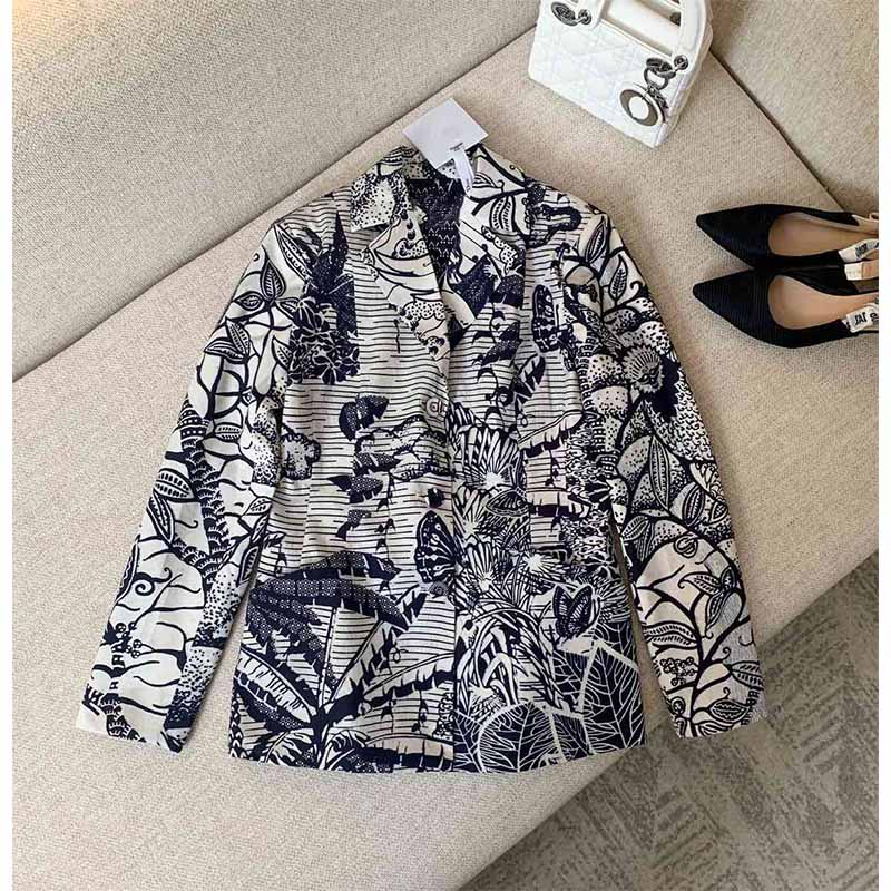 Cosmicchic 2020 Women Floral Print Blazer Retro Single-Breasted Cotton Jacket Suit Runway Design Long Sleeve Slim Gothic Coats