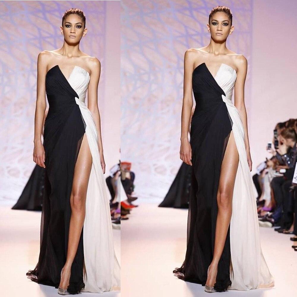 2018 V Neck Front High Slit Black And White Chiffon Floor Length Long Vestido De Noiva Party Prom Gown Bridesmaid Dresses