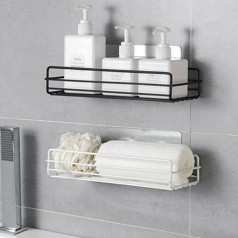 Rust Stainless Steel Shower Gel Adhesive Shampoo Holder Kitchen Bathroom Wall Storage Rack Shelf Organiser Suction Basket Shelf
