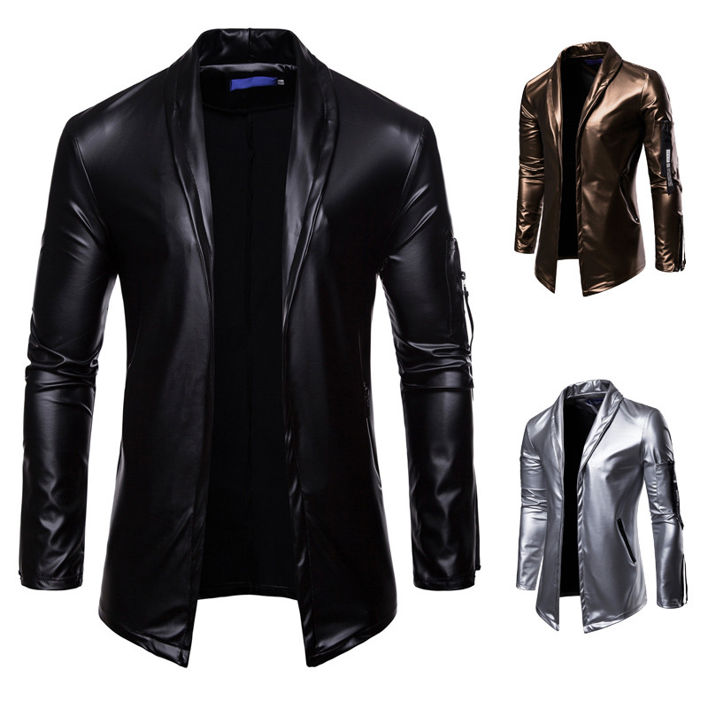 2019 Elastic Motorcycle Leather Jacket for Men - Lined Stand-up Collar Slimming Leather Jacket
