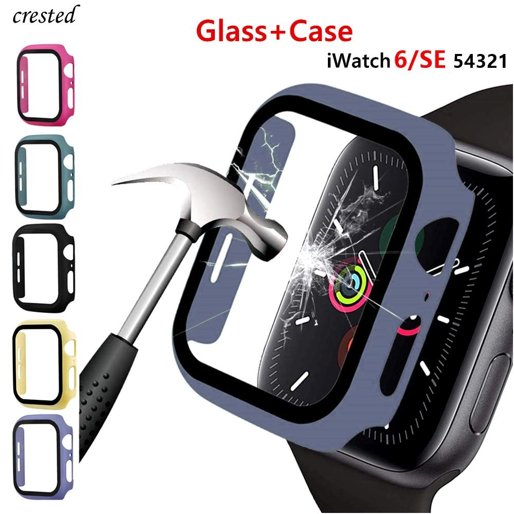 Стекло и крышка для Apple Watch 6, чехол 44 мм 40 мм, чехол для iWatch 42 мм 38 мм, бампер + защита для экрана Apple watch Series 5 4 3 SE, аксессуары