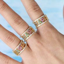 cz finger ring Gold filled colorful cz sparking bling trendy women finger jewelry love happy letter rings(China)