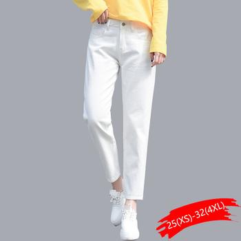 Bawełniane białe dżinsy dla kobiet wysokiej talii Harem dżinsy dla mamy Plus rozmiar niebo niebieskie spodnie czarne moda dla kobiet dżinsy beżowy jean tanie i dobre opinie WICCON Kostki długości spodnie COTTON Na co dzień HF3117 Zmiękczania Harem spodnie REGULAR light Wysoka NONE Przycisk fly