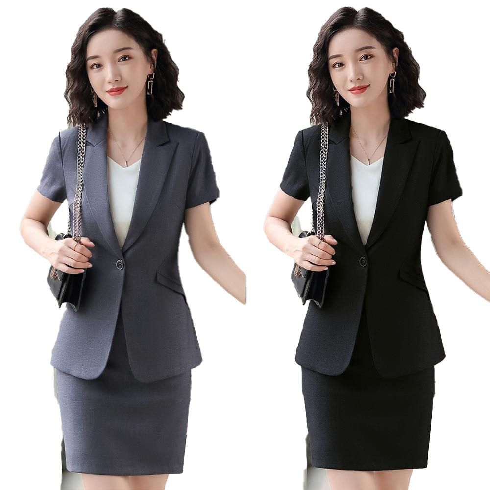 New Female Elegant Formal Office Work Wear High Quality Ladies Black Blazer Women Suits With Skirt And Jacket Sets Uniform Style