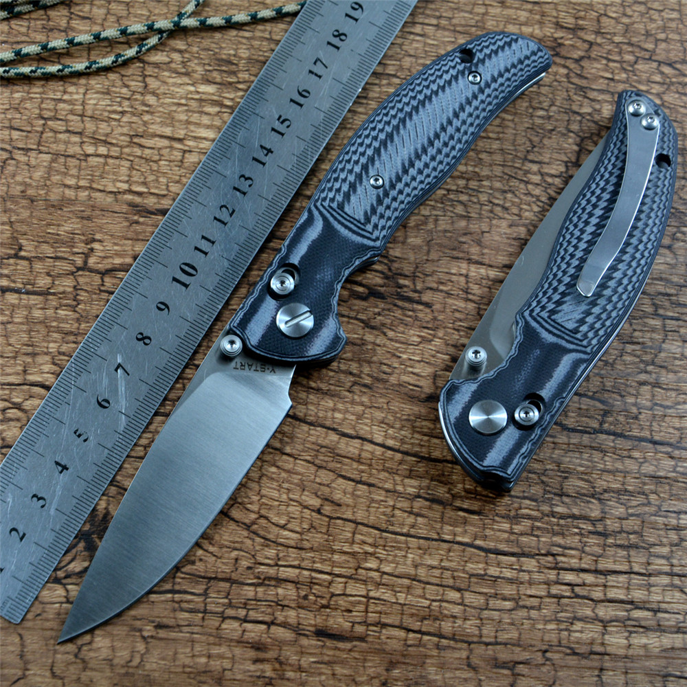 Y-START JIN02 New Pocket Survival Knife D2 Satin Blade G10 Handle Axis Folding Hunting Outdoor EDC Knife Tools