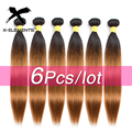 X-Elements Peruvian Ombre Straight Human Hair Weaves T1B Purple/27/30/39J Colored Human Hair Bundles 6Piece Remy Hair Extensions