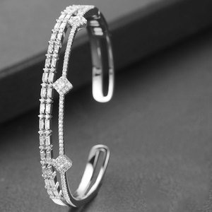 Image 2 - GODKI Trendy Luxury Stackable Bangle Cuff For Women Wedding Full Cubic Zircon Crystal CZ Dubai Bracelet Party Jewelry2019