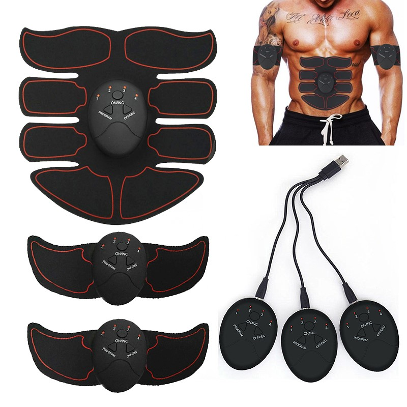 ABS Stimulator Muscle Toner Rechargeable Abdominal Toning Belt EMS Abdomen Muscle Trainer Fitness Equipment Exercise At Home Gym