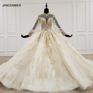 Image 1 - Кружевное бальное платье HTL1141, свадебное платье с длинным рукавом и высокой горловиной, с аппликацией, бальное платье невесты с хиджабом, платье casamento civil