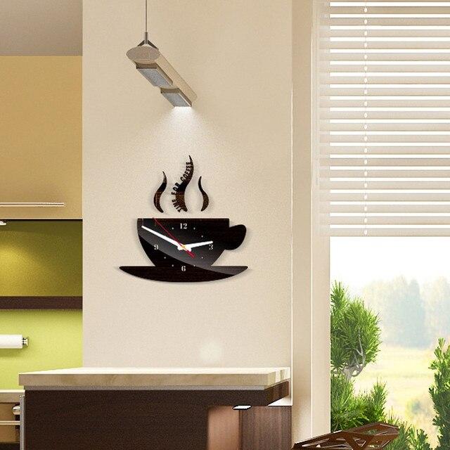 Coffee Shape Removable Diy Acrylic 3d Mirror Wall Sticker Decorative Clock Wall Clock Quartz Watch Reloj De Pared Living Room 4