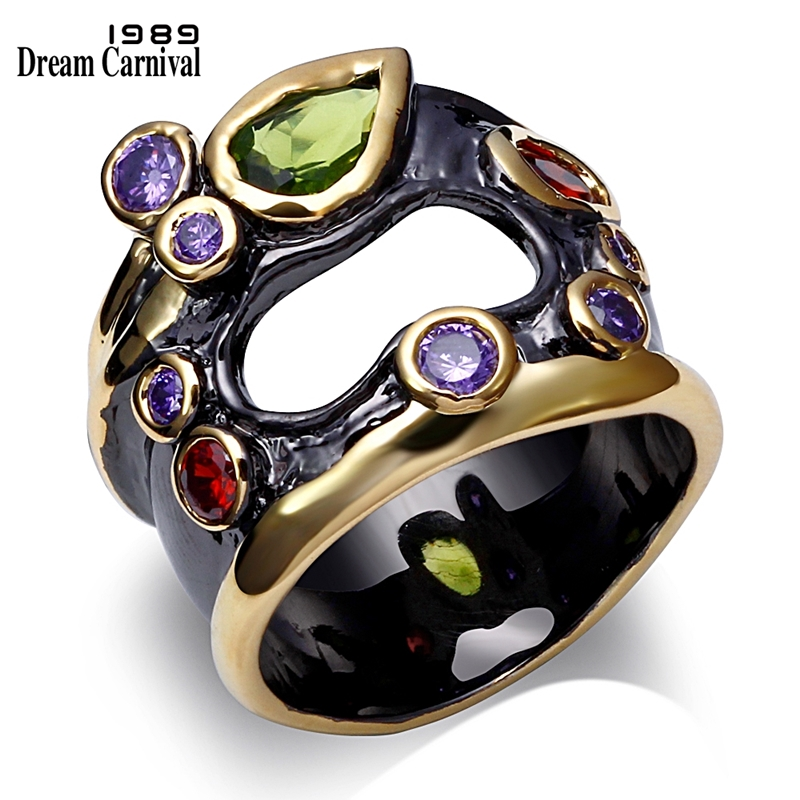 DreamCarnival1989 Olivine Red Purple Color CZ Rings for Women Neo-Gothic Hollow Jewelry Wedding Valentine Gift Anel das mulheres(China)