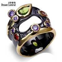DreamCarnival 1989 Unique Vintage Rings For Women Multi Colors Synthetic Cubic Zirconia Bezel Pierced Black Gold-color Anillos