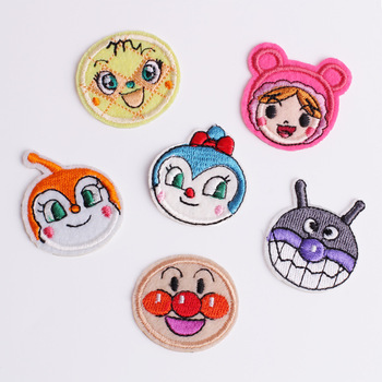 Iron on Cartoon Doll Patches for Clothing Stripes Embroidered Patches Cute Doll Badge Stickers on Clothes for Kids DIY Appliques 3pcs pink flowers pearl clothes embroidered sew on patches for clothing diy stripes motif appliques parches