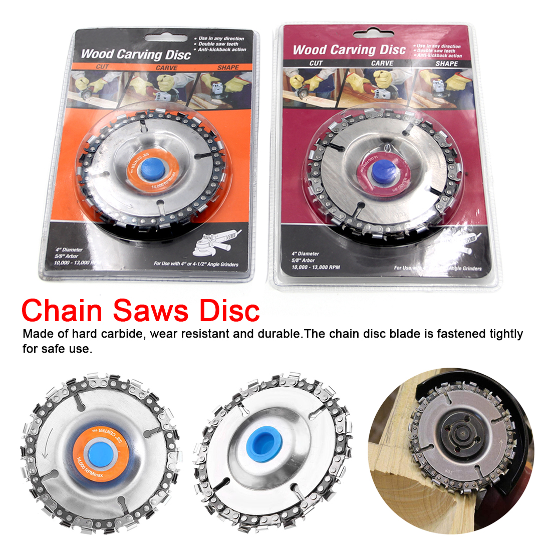 4 Inch 22 Teeth Grinder Chain Disc Cutting Disc 16mm Arbor Woodworking Carving Disc For 100/115 Angle Grinder /Circular Saw
