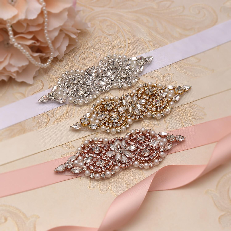 MissRDress Handmade Bridal Belt Silver Crystal Bridal Sash Rhinestones Pearls Wedding Belt And Sash For Wedding Dresses JK932