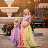 Maternity Photography Rainbow Long Dress Pregnancy Rainbow Photo Shoot Dress Customized Maternity Photography Chiffon Long Dress Stretchy Pregnancy Maxi Gown