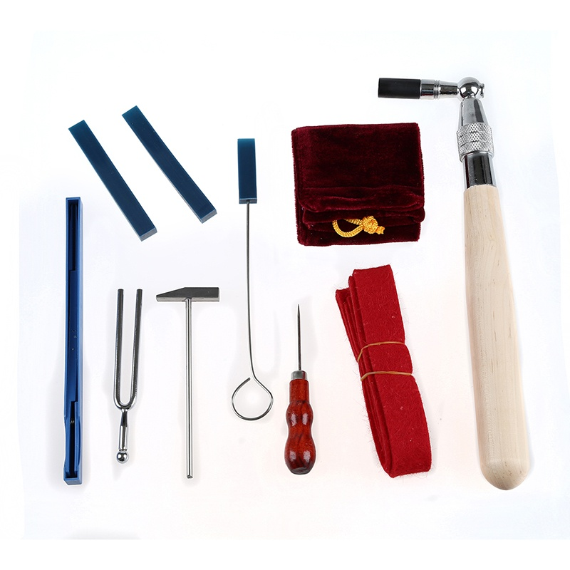 11Pcs Professional Piano Tuning Tool Kit Maintenance Equip with Case Hand Tool Sets     - title=