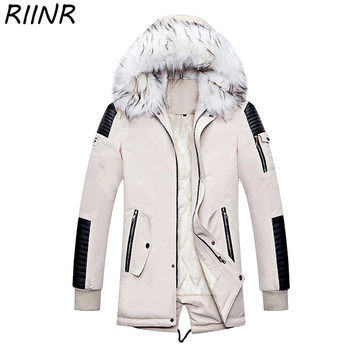 RIINR Winter Men Windbreak Plus Velvet Thick Warm Windproof Fur Long Coats Male Hooded Anorak Jackets Men's Winter Large Jackets