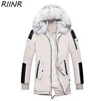 RIINR Winter Men Windbreak Plus Velvet Thick Warm Windproof Fur Long Coats Male Hooded Anorak Jackets Men's Winter Large Jackets