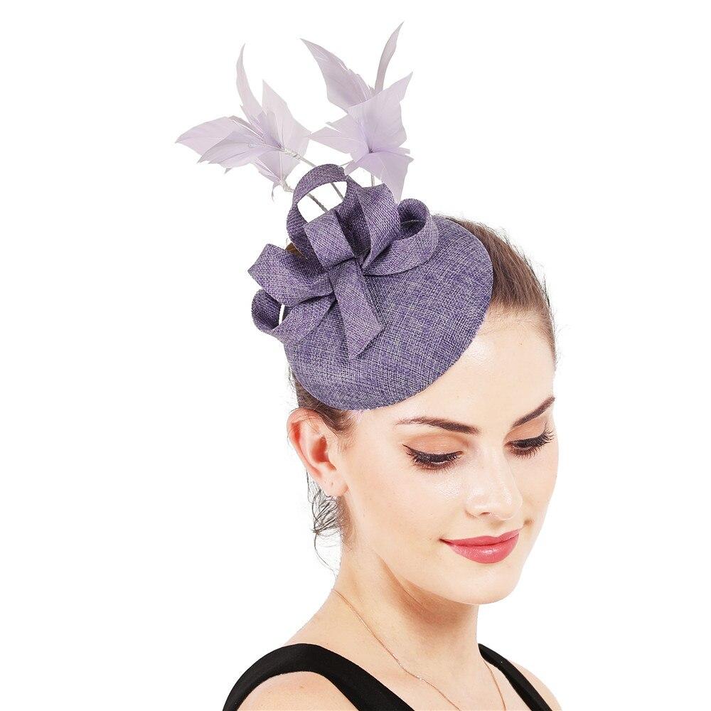 Новые женские шляпки с сеткой цвета хаки, модные женские шляпы с лентами для свадебной вечеринки, красивые аксессуары SYF570 - Цвет: Светло-фиолетовый