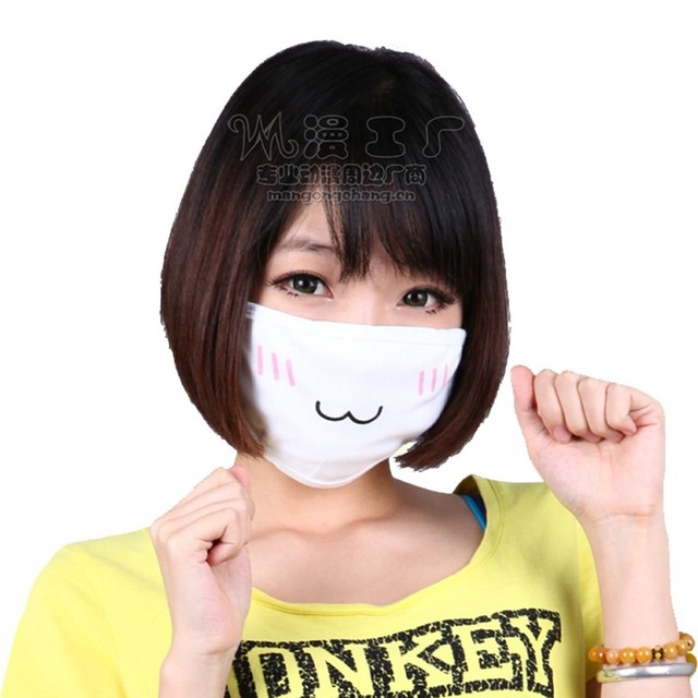 Wholesale 10pcs Japan Anime Face Mask Cosplay Mouth-muffle Kaomoji-kun Emoticon Kawaii Anti-Dust Cotton Mouth Masks Breathable 2