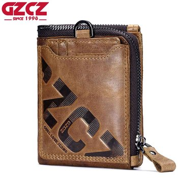 GZCZ Genuine Leather Men Wallet Fashion Coin Purse Card Holder Small Wallet Men Portomonee Male Clutch Zipper Clamp For Money new trend vintage fashion men long wallet men split leather wallet card holder male zipper purse coin purse male clutch bag