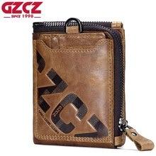 GZCZ ของแท้หนังผู้ชายกระเป๋าสตางค์แฟชั่นกระเป๋าถือเหรียญขนาดเล็กกระเป๋าสตางค์ผู้ชาย Portemonnee ชาย CLUTCH Zipper CLAMP For Money