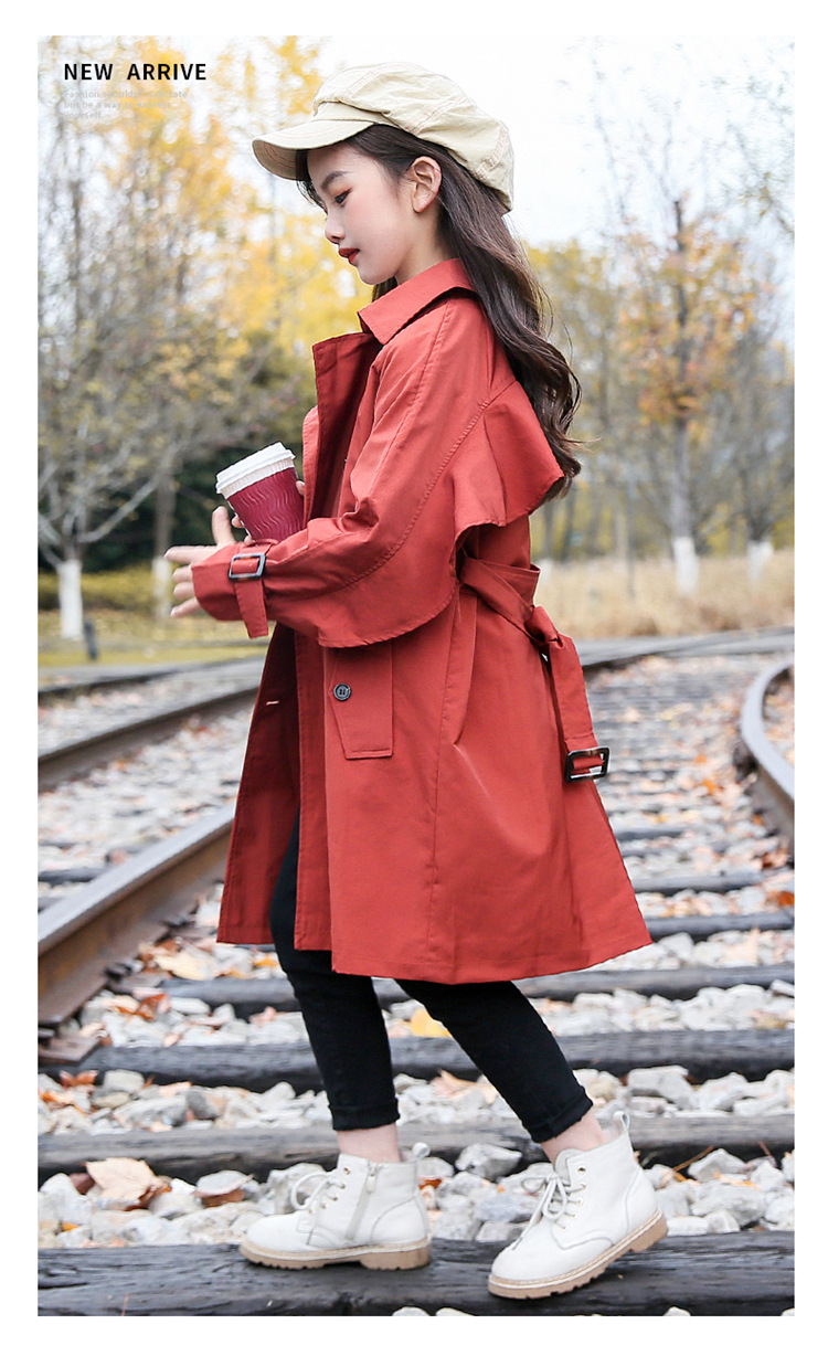 2020 Big Kid`s Outerwear Cotton British Style Trench Coat for Girls Fashion Long Windbreaker Jackets, (4)