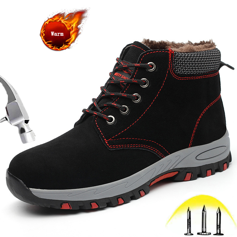 Men Women Steel Toe Shoes Work Safety Indestructible Shoes Outdoor Non Slip Puncture Proof Leather Winter Warm Ankle Work Boots