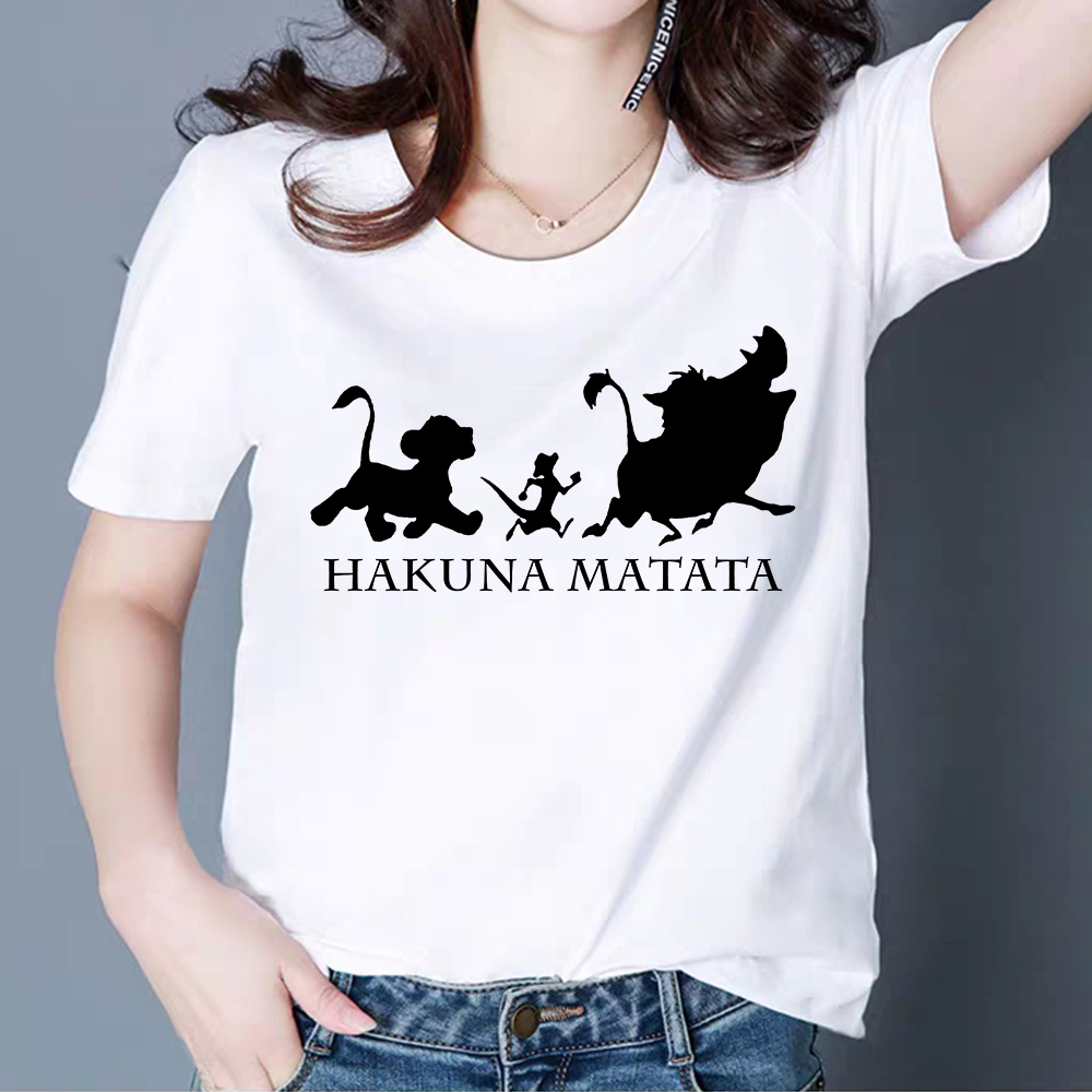 Summer Fashion <font><b>HAKUNA</b></font> <font><b>MATATA</b></font> English Print Short Sleeve T-shirt Handsome Languid Simple Loose T shirt Cute <font><b>Lion</b></font> <font><b>king</b></font> Tshirt image
