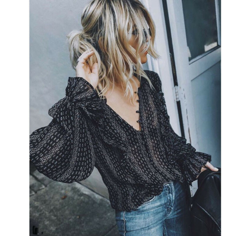 Dropshipping Women <font><b>Sexy</b></font> <font><b>Deep</b></font> <font><b>V</b></font>-Neck Long Sleeve <font><b>Blouse</b></font> Ladies Summer Casual Shirts Loose Tops Female <font><b>Blouse</b></font> Streetwear L-XXXL image