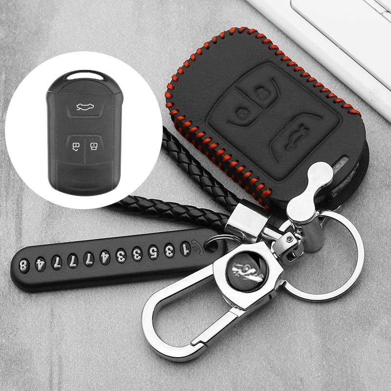 Leather Car Key Case For Chery Tiggo 3 5 Chery ARRIZO 3 7 Chery E3 E5 Bonus 3 Buttons Smart Remote Fob Cover Keychain Bag(China)