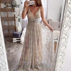 Image 1 - Simplee vestido de renda rosa feminino, malha, elegante, decote em v, para noite, maxi, para outono, inverno, sexy, longo, vestido de festa festa