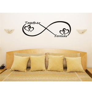 WJWY Together Forever Wall Stickers Romantic Quotes Home Decor Living Room Bedroom Art Murals Wall Decoration