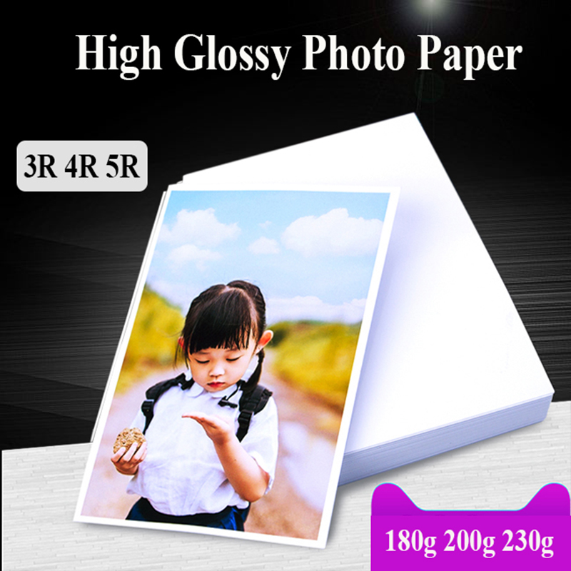 Photo Paper White Back 3R 4R 5R 100 Sheets For Inkjet Printer High Glossy Photographic Coated Printing Paper