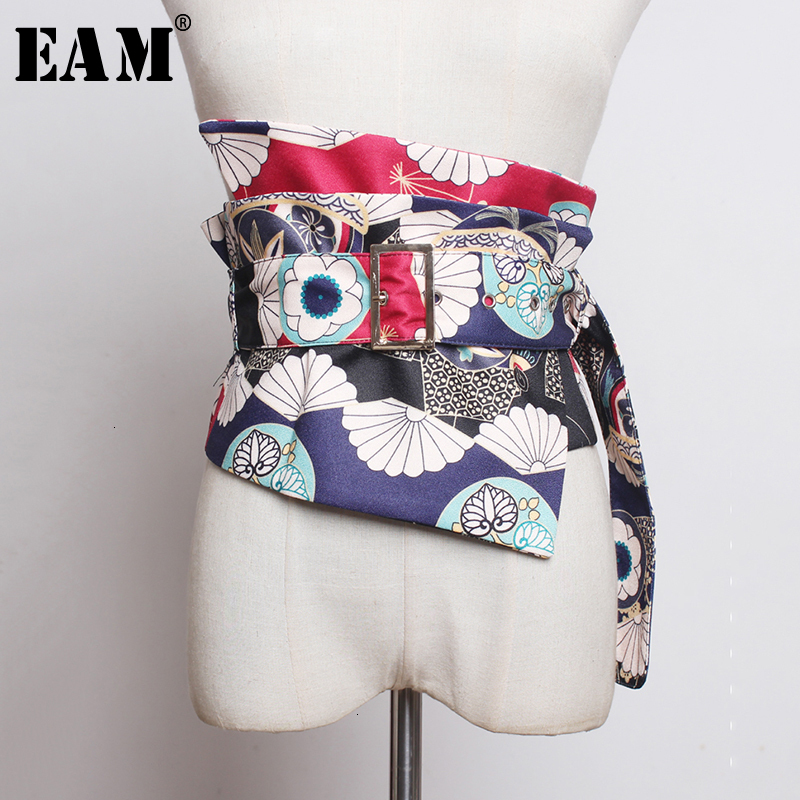 [EAM] Pattern Printed Asymmetrical Long Wide Belt Personality Women New Fashion Tide All-match Spring Autumn 2020 1K376
