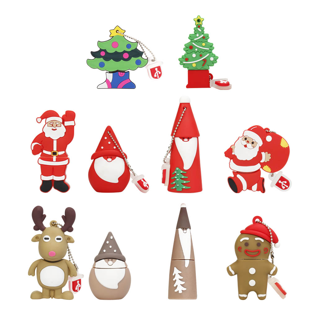 Pendri USB Flash Drive 128GB Pendrive Cartoon Snowman Christmas Tree Gifts 64GB 32GB 16GB 8GB 4GB Elk Deer Santa Claus Pen Drive
