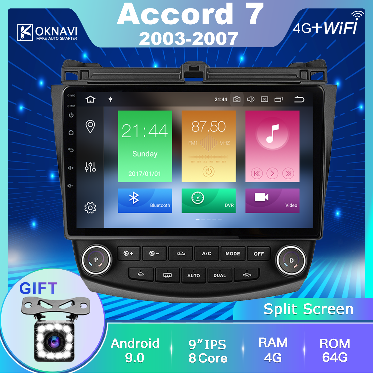 OKNAVI For <font><b>Honda</b></font> <font><b>Accord</b></font> 7 2003-2007 10 Inch <font><b>Android</b></font> 9.0 2Din Car <font><b>Radio</b></font> Multimedia Player Navigation GPS No Dvd & 12 LED Camera image