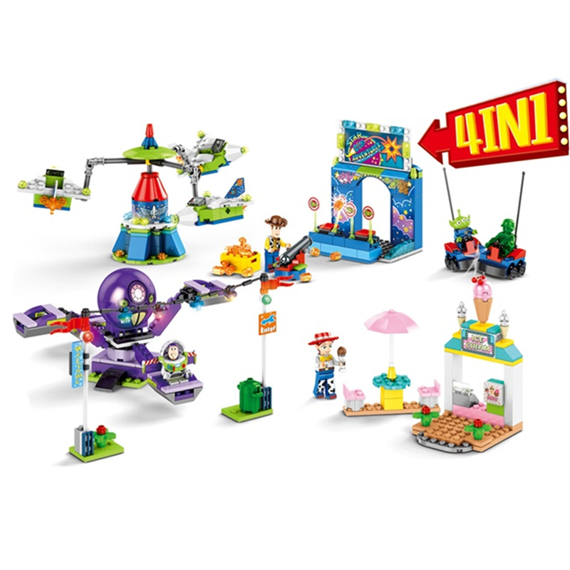 4 Pcs/lot NEW <font><b>Toys</b></font> Storyed 4 Buzz Woody's Carnival Mania Building <font><b>Block</b></font> Sets Movie Classic Model Kids <font><b>Toys</b></font> Gifts Marvel image