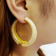GODKI 50mm Luxury Round AAA Cubic Zircon Big Statement Hoop Earrings For Women Wedding DUBAI Bridal Circle Hoop Earrings 2019