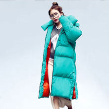 2019 Oversize X-Long cotton Coat Women Winter Down Jacket Loose Hooded Women parka Thick warm plus size Jacket Winter Coats(China)